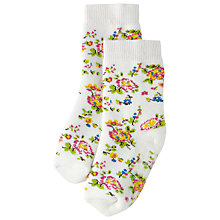 Buy Cath Kidston Children's Bramley Sprig Slipper Socks, White Online at johnlewis.com
