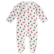 Buy Cath Kidston Baby Hankie Rose Sleepsuit, White Online at johnlewis.com
