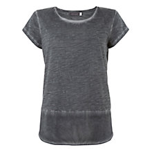Buy Mint Velvet Woven Hem T-shirt, Khaki Online at johnlewis.com