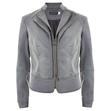 Buy Mint Velvet Denim Biker Jacket, Grey Online at johnlewis.com