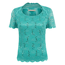 Buy Jacques Vert Raglan Seam Lace Top, Bright Green Online at johnlewis.com