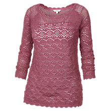 Buy Fat Face Filey Crochet Jumper, Rose Online at johnlewis.com