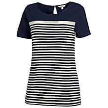 Buy Fat Face Stripe Jacquard Short Sleeve T-shirt, Navy Online at johnlewis.com