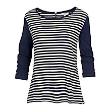 Buy Fat Face Stripe Jacquard Top, Navy Online at johnlewis.com