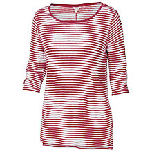 Buy Fat Face Three-Quarter Sleeve Breton Stripe Linen Top, Rose Online at johnlewis.com