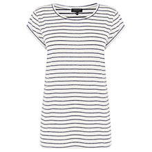 Buy Warehouse Stripe Boyfriend T-Shirt, Blue Online at johnlewis.com
