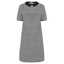 Buy Warehouse Collared Dress, Black Stripe Online at johnlewis.com