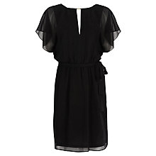 Buy Warehouse Neck Detail Belted Dress, Black Online at johnlewis.com