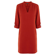 Buy Warehouse Roll Cuff Shift Dress, Dark Red Online at johnlewis.com