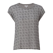 Buy Jigsaw Leaf Print Jumper, Pale Blue Online at johnlewis.com