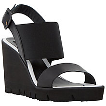 Buy Dune Black Kassie Cleated Wedge Leather Sandals, Black Online at johnlewis.com
