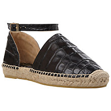 Buy Dune Black Lizzy Leather Croc Espadrilles, Black Online at johnlewis.com