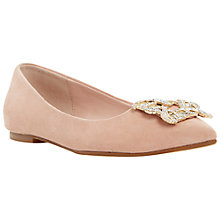 Buy Dune Briella Embellished Toe Point Flat Pumps, Blush Suede Online at johnlewis.com