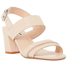 Buy Dune Joro Leather Block Heel Sandals, Nude Online at johnlewis.com