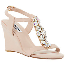 Buy Dune Marzia Leather Jewelled Wedges, Blush Online at johnlewis.com