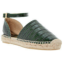 Buy Dune Black Lizzie Leather Croc Espadrilles, Green Online at johnlewis.com