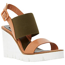 Buy Dune Black Kassie Cleated Wedge Leather Sandals Online at johnlewis.com