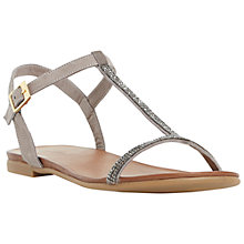 Buy Dune Lifestory Leather T-Bar Sandals, Grey Online at johnlewis.com
