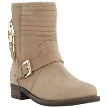 Buy Dune Parsonn Double Zip Biker Boots, Taupe Online at johnlewis.com