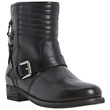Buy Dune Parsonn Double Zip Biker Boots, Black Online at johnlewis.com