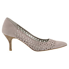 Buy Jigsaw Lucile Suede Perforated Court Shoes, Taupe Online at johnlewis.com