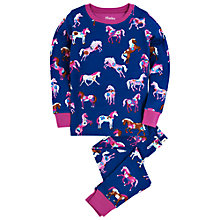 Buy Hatley Girls' Horses and Flowers Pyjamas, Navy Online at johnlewis.com