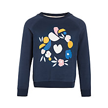 Buy Kin by John Lewis Girls' Floral Wreath Sweatshirt, Navy Online at johnlewis.com