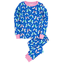 Buy Hatley Girls' Butterflies Pattern Pyjama Set, Blue Online at johnlewis.com