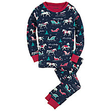 Buy Hatley Children's Sledding Pyjamas, Navy Online at johnlewis.com