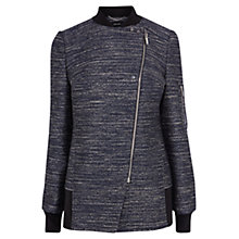 Buy Karen Millen Denim Effect Tweed Coat, Blue Online at johnlewis.com