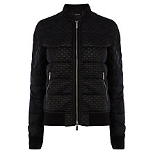 Buy Karen Millen Quilted Bomber Jacket, Black Online at johnlewis.com