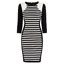 Buy Karen Millen Stripe Knitted Dress, Black/White Online at johnlewis.com