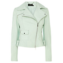Buy Karen Millen Leather Biker Jacket, Aqua Online at johnlewis.com