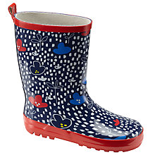 Buy John Lewis Floating Clouds Wellington Boots, Navy/Red/White Online at johnlewis.com