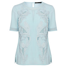 Buy Karen Millen Floral Applique Top, Pale Blue Online at johnlewis.com