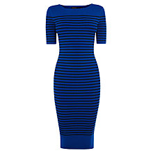 Buy Karen Millen Stripe Rib Knit Dress, Blue Online at johnlewis.com