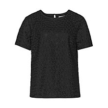 Buy Reiss Norico Sheer Lace Top, Black Online at johnlewis.com