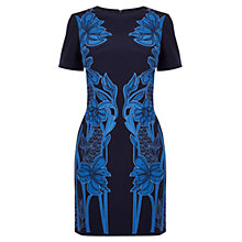 Buy Karen Millen Floral Applique Dress, Blue / Multi Online at johnlewis.com