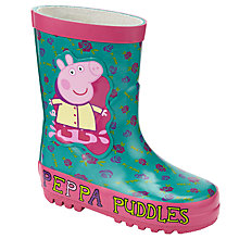 Buy John Lewis Rose Puddle Peppa Wellington Boots, Teal/Pink Online at johnlewis.com