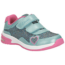 Buy Clarks Piper Ace Leather Sports Shoes, Teal/Pink Online at johnlewis.com