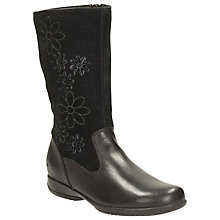 Buy Clarks Daisy Game Leather Boots, Black Online at johnlewis.com