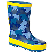 Buy John Lewis Bright Camo Print Wellington Boots, Navy/Yellow Online at johnlewis.com