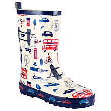 Buy John Lewis London Scene Wellington Boots, Cream/Blue Online at johnlewis.com