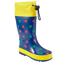 Buy John Lewis All Over Star Print Wellington Boots, Blue/Yellow Online at johnlewis.com