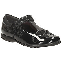 Buy Clarks Trixi Lights Bow Strapped School Shoe, Black Online at johnlewis.com