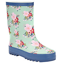 Buy John Lewis Floral Print Wellington Boots, Teal Online at johnlewis.com