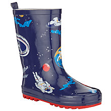 Buy John Lewis All Over Spaceman Wellington Boots, Blue/Multi Online at johnlewis.com