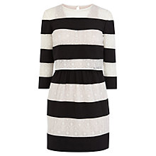 Buy Karen Millen Lace Striped Dress, Black/White Online at johnlewis.com