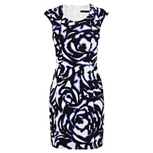 Buy Karen Millen Graphic Floral Dress, Blue / Multi Online at johnlewis.com