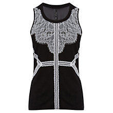 Buy Karen Millen Graphic Placed Lace Vest Top, Black Online at johnlewis.com